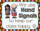Hand Signals: A Classroom Management Tool {Chocolate Polka Dots Decor}