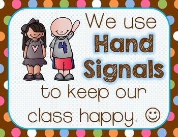 Hand Signals: A Classroom Management Tool {Chocolate Polka