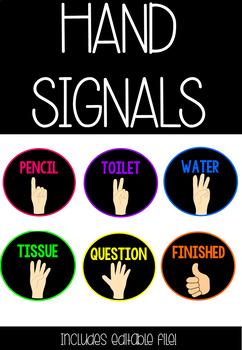 Hand Signals- Bright Chalkboard Theme
