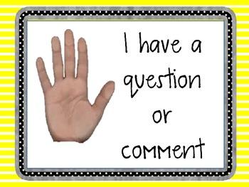 Hand Signals Classroom Poster **EDITABLE**