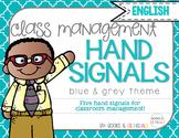 Hand Signals Editable {English} Blue & Grey Set