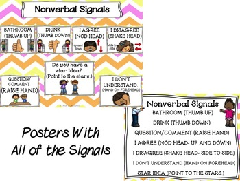 Hand Signals/ Nonverbal Hand Signals-Cues/ Hand Motions Posters & Worksheets