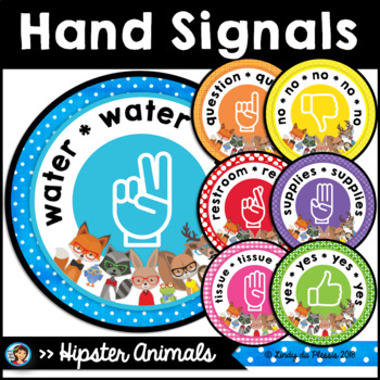 Hand Signals Posters Hipster Animals Class Decor