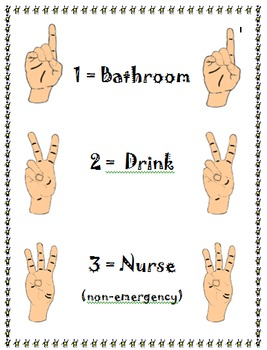 Hand Signals for leaving the classroom