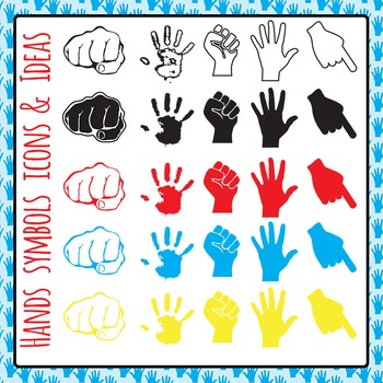 Hand Symbols Icons and Ideas Clip Art Set for Commercial Use