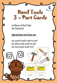 Hand Tools  3 – Part Cards ** Montessori