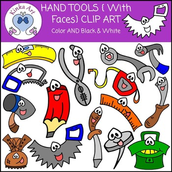Hand Tools {With Faces} Clip Art