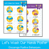 Hand Washing Poster (Cute Blue and Purple Monster)    Prin