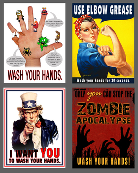 Hand Washing Reminder Poster / Flyer Bundle for HS Settings