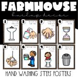 Hand Washing Steps Posters | Farmhouse Classroom Decor