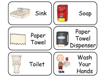 Hand Washing and Germs printable Picture Word Flash Cards. Preschool Hygiene..