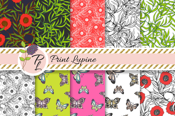Hand drawn Butterflies and Poppies Seamless Pattern Set. Digital paper pack.