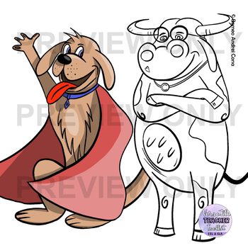 Hand Drawn Cartoon Animals Clip Art Set Tpt