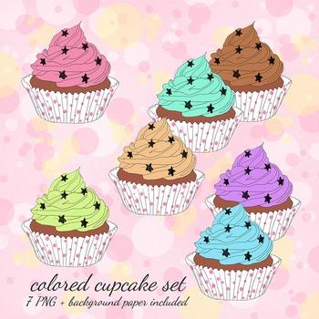 Hand-drawn Cupcakes Clip Art Set