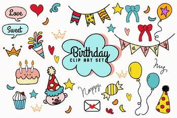 Hand-drawn Doodle Birthday Clip Art Set