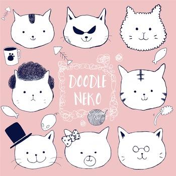 Hand-drawn Doodle Cat Clip Art Set