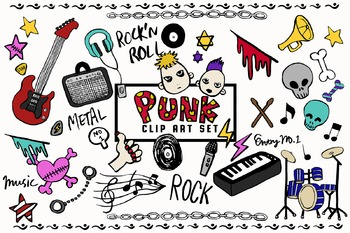 Hand-drawn Doodle Punk Music Clip Art Package