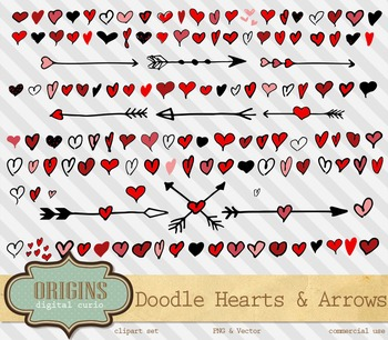 Hand drawn Doodle Valentine Hearts and Arrows Vectors Clipart