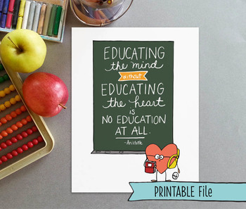 """Hand-drawn Inspirational """"Educating the mind and heart"""" Aristotle Quote Poster"""