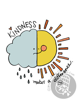 "Hand-drawn ""Kindness makes a difference"" Inspirational Classroom Poster"