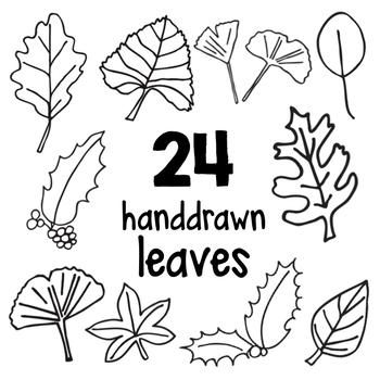 Hand drawn Leaf Clip Art Outlines