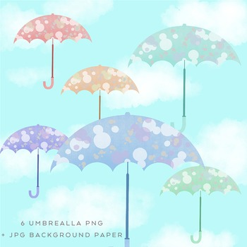 Hand-drawn Rainy Day Umbrella Graphics