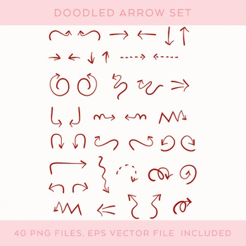 Hand-drawn Red Doodle Arrow Set