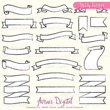 Hand drawn Ribbon Banners clip art - doodle ribbons clipart