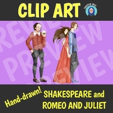 Hand-drawn Shakespeare and Romeo and Juliet Clip Art