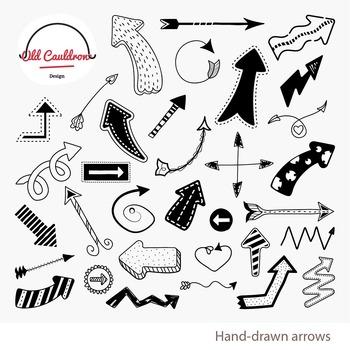 Hand-drawn arrows clipart, arrows image, vector graphics CL024