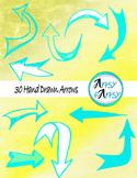 Hand drawn arrows in aqua color