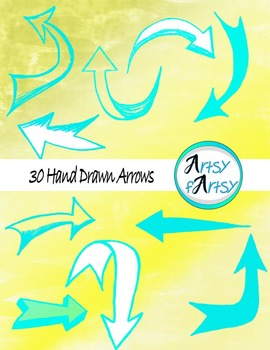 Hand drawn arrows in aqua color