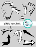 Hand drawn arrows in black color - Clip Art