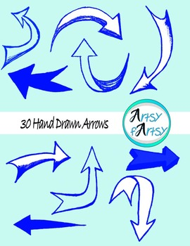 Hand drawn arrows in blue color