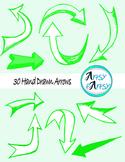 Hand drawn arrows in green color