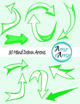 Hand drawn arrows in green color