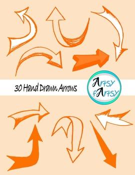 Hand drawn arrows in orange color
