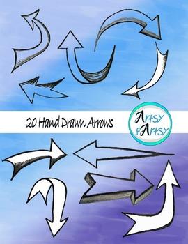 Hand drawn arrows in pencil - Clip art