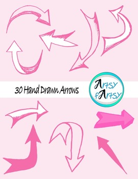 Hand drawn arrows in pink color