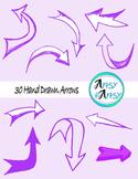 Hand drawn arrows in purple color