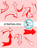 Hand drawn arrows in red color