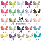 Hand drawn bow clipart, doodle bow clipart, digital graphics