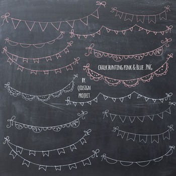 Hand drawn chalk bunting clipart- doodle chalk bunting