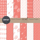 Hand drawn Coral Digital paper, Background, Pattern