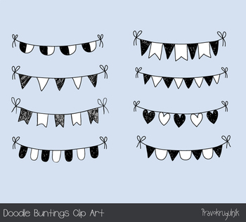 Hand drawn doodle buntings clipart, Black and white birthday banner flag sketch