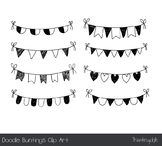 Hand drawn doodle buntings clipart, Black and white birthd