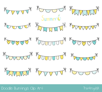 Hand drawn doodle summer bunting clipart, Birthday party pennant flags banner