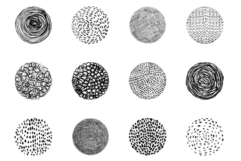 Hand drawn doodle texture circles clipart, Round textured shapes - lines dots