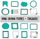 Hand drawn frames - turquoise