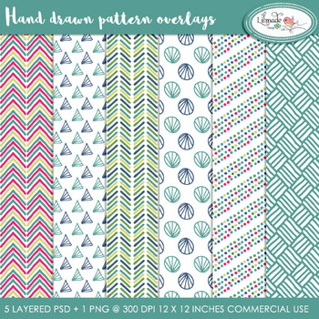 Hand drawn overlay patterns, paper templates, PSD layered templates